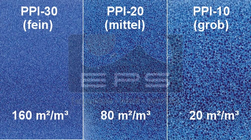 Filterschaummatte -200 x 100 x 3 cm fein PPI 30